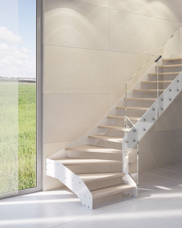 escalier flottant en acier rintal recta