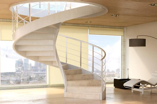 Escalier droit, escalier en colimaçon, mezzanines